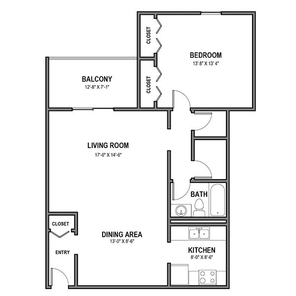 1 Bedroom 1 Bathroom Apartment for rent at Walnut Crossings in Monroeville, PA