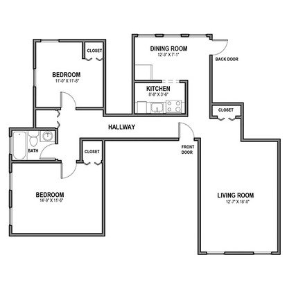 2 Bedrooms 1 Bathroom Apartment for rent at Hobart Court in Pittsburgh, PA