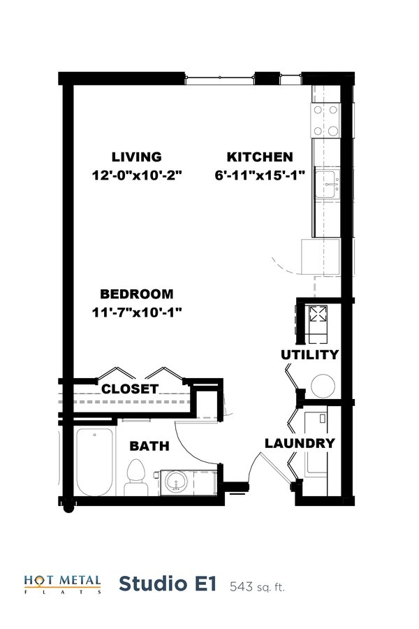 Studio 1 Bathroom Apartment for rent at Hot Metal Flats in Pittsburgh, PA