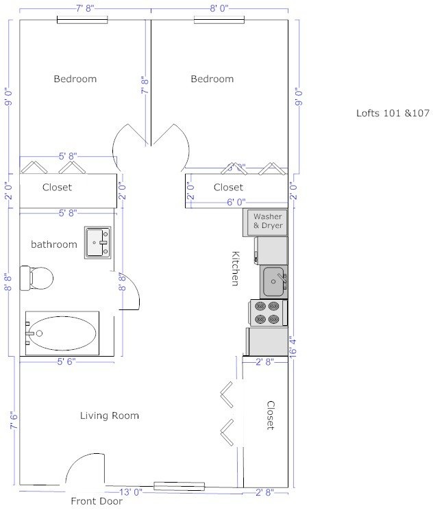 2 Bedrooms 1 Bathroom Apartment for rent at University Loft Apartments in Pittsburgh, PA