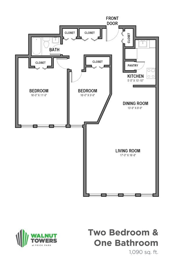 2 Bedrooms 1 Bathroom Apartment for rent at Walnut Towers at Frick Park in Pittsburgh, PA
