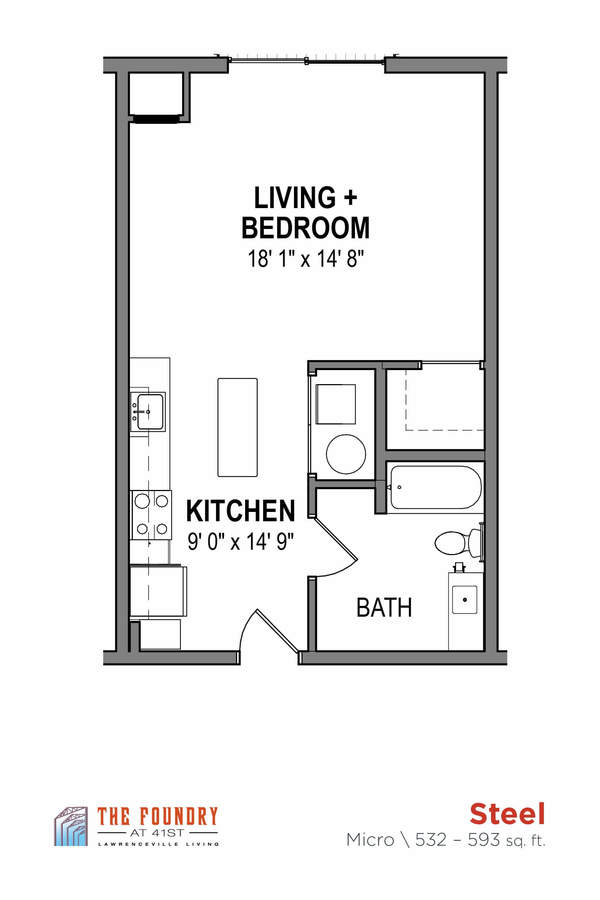 Studio 1 Bathroom Apartment for rent at The Foundry At 41st in Pittsburgh, PA