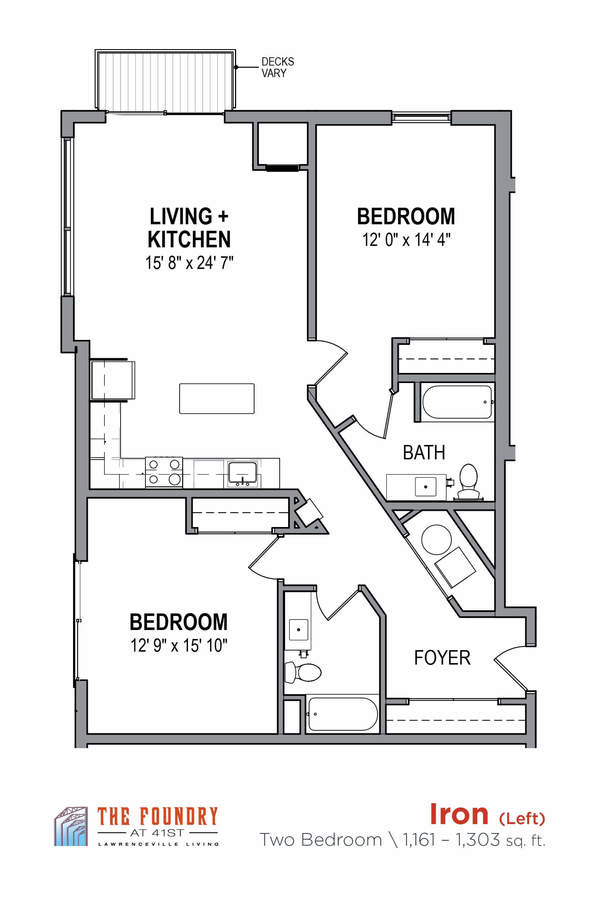 2 Bedrooms 2 Bathrooms Apartment for rent at The Foundry At 41st in Pittsburgh, PA