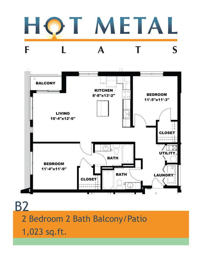 2 Bedrooms 2 Bathrooms Apartment for rent at Hot Metal Flats in Pittsburgh, PA