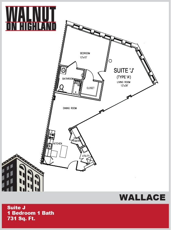 1 Bedroom 1 Bathroom Apartment for rent at Walnut on Highland in Pittsburgh, PA