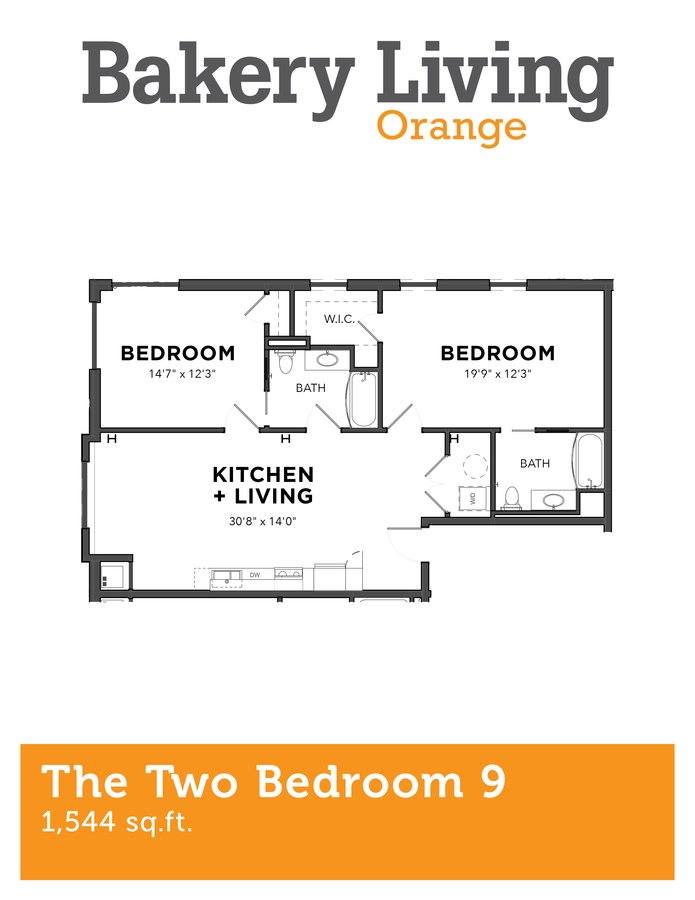 2 Bedrooms 2 Bathrooms Apartment for rent at Bakery Living Orange in Pittsburgh, PA