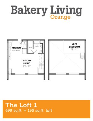 1 Bedroom 1 Bathroom Apartment for rent at Bakery Living Orange in Pittsburgh, PA
