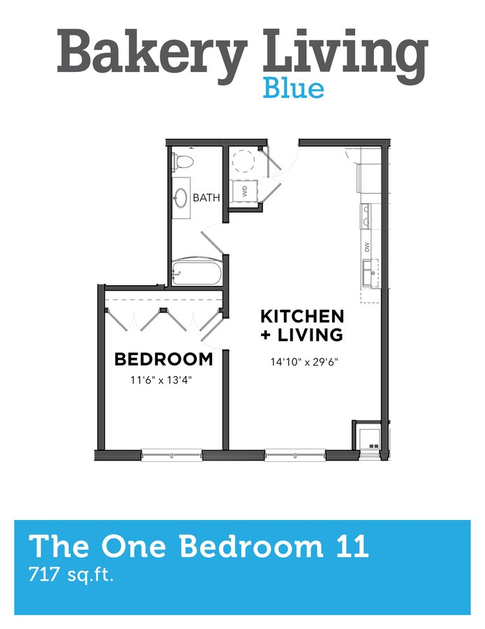 1 Bedroom 1 Bathroom Apartment for rent at Bakery Living Blue in Pittsburgh, PA