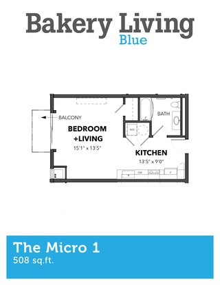 Studio 1 Bathroom Apartment for rent at Bakery Living Blue in Pittsburgh, PA