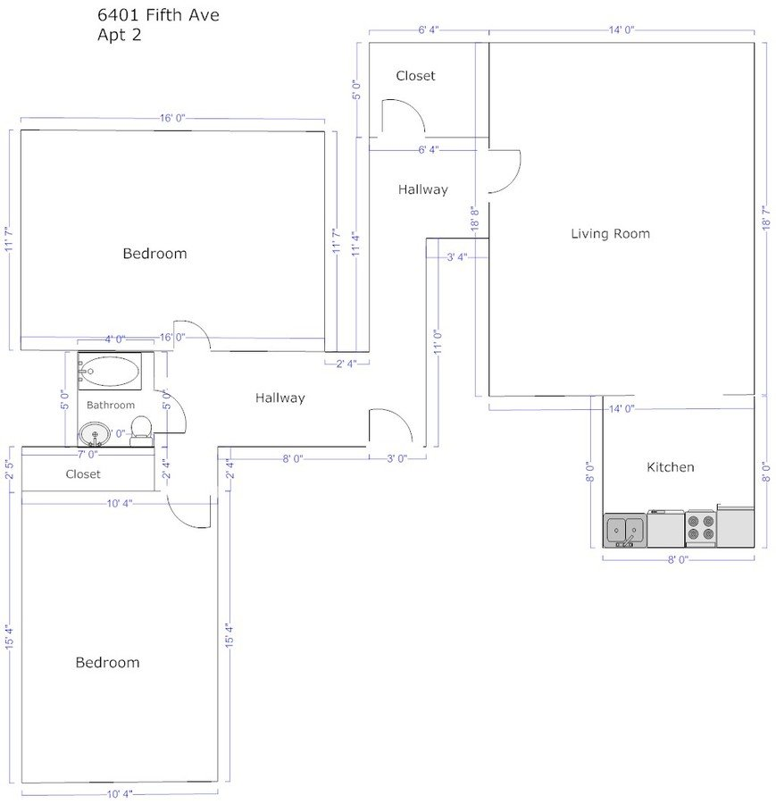 2 Bedrooms 1 Bathroom Apartment for rent at Fifth Avenue Apartments in Pittsburgh, PA