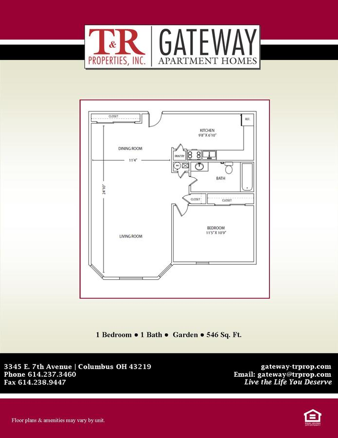 1 Bedroom 1 Bathroom Apartment for rent at Gateway in Columbus, OH