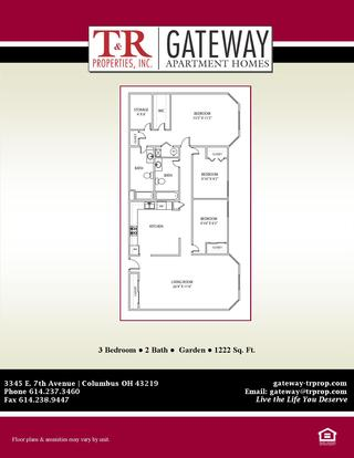 3 Bedrooms 2 Bathrooms Apartment for rent at Gateway in Columbus, OH