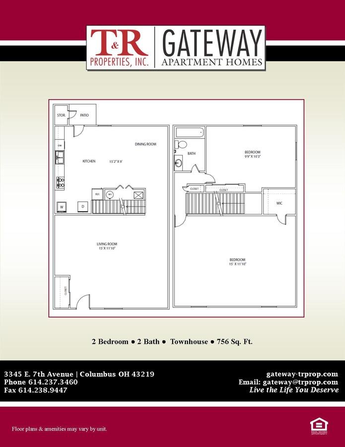 2 Bedrooms 2 Bathrooms Apartment for rent at Gateway in Columbus, OH