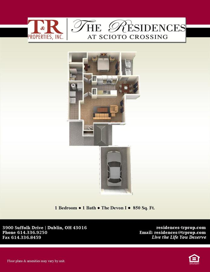1 Bedroom 1 Bathroom Apartment for rent at The Residences at Scioto Crossing in Dublin, OH
