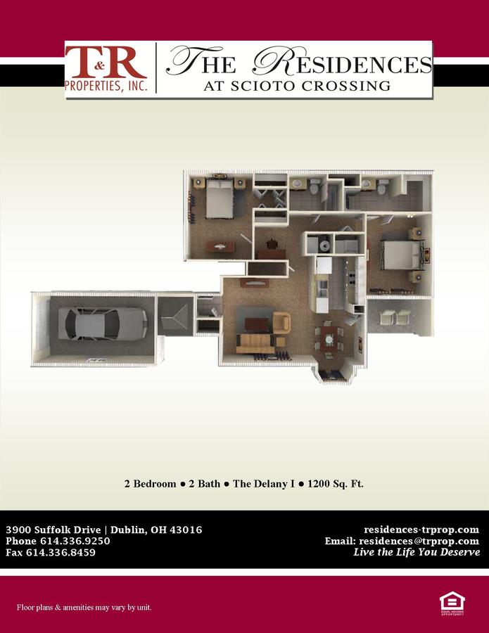 2 Bedrooms 2 Bathrooms Apartment for rent at The Residences at Scioto Crossing in Dublin, OH