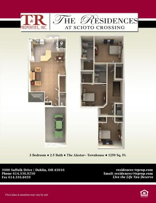 3 Bedrooms 2 Bathrooms Apartment for rent at The Residences at Scioto Crossing in Dublin, OH