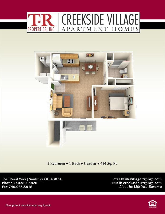 1 Bedroom 1 Bathroom Apartment for rent at Creekside Village in Sunbury, OH