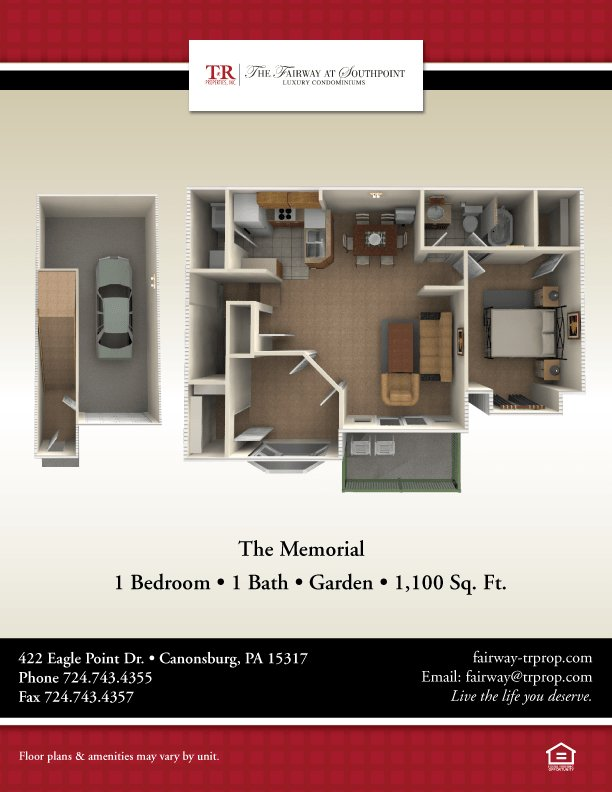 1 Bedroom 1 Bathroom Apartment for rent at The Fairway at Southpointe in Canonsburg, PA