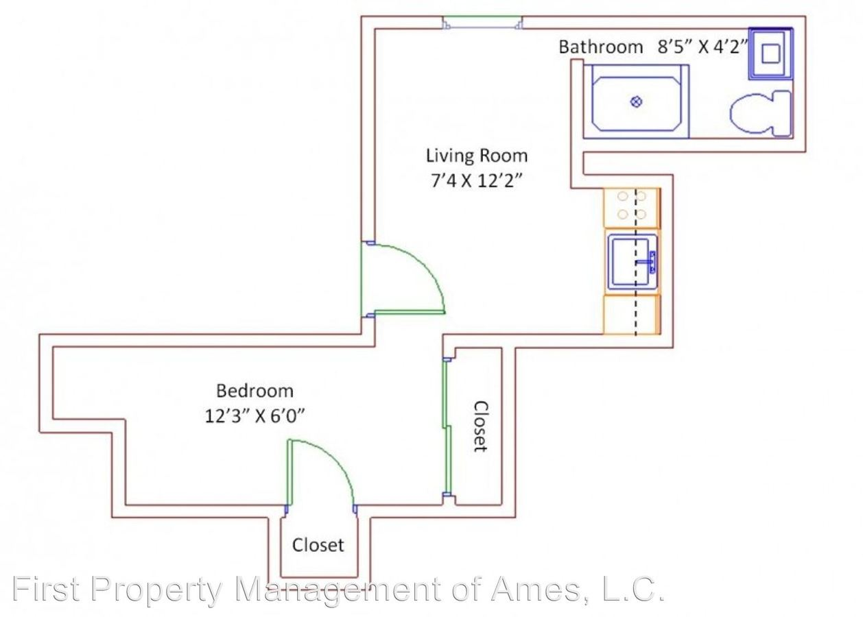 1 Bedroom 1 Bathroom Apartment for rent at 1108 S. 4th St in Ames, IA