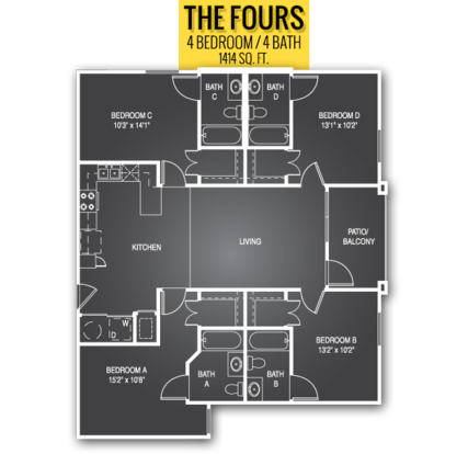 4 Bedrooms 4+ Bathrooms Apartment for rent at Gateway At Columbia in Columbia, MO