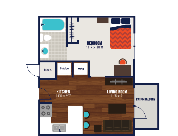 1 Bedroom 1 Bathroom Apartment for rent at The Wyatt in Lexington, KY