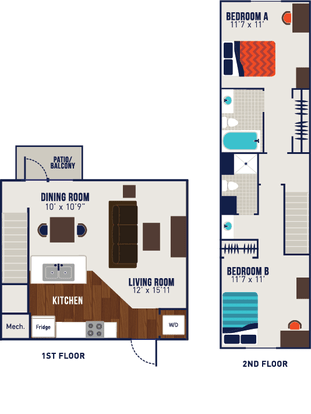 2 Bedrooms 2 Bathrooms Apartment for rent at The Tyler in Indianapolis, IN