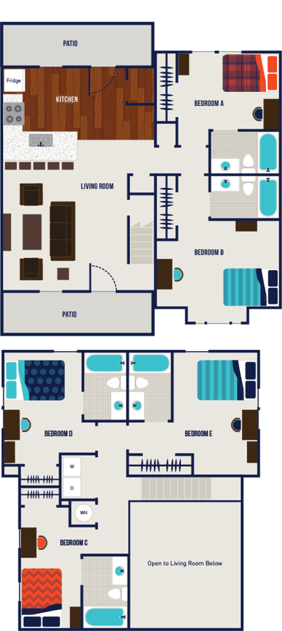 5 Bedrooms 4+ Bathrooms Apartment for rent at The Dillon in Bloomington, IN