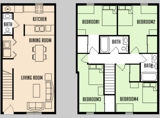 4 Bedrooms 3 Bathrooms Apartment for rent at Carriage Way in Urbana, IL