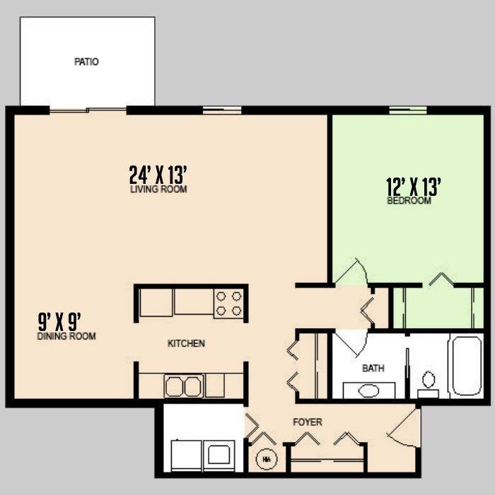 1 Bedroom 1 Bathroom Apartment for rent at Colorado Oaks in Urbana, IL