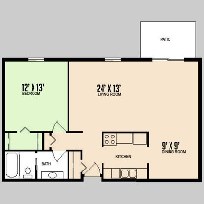 1 Bedroom 1 Bathroom Apartment for rent at Colorado Oaks in Urbana, IL