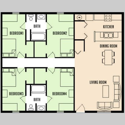 4 Bedrooms 2 Bathrooms Apartment for rent at Carriage Way in Urbana, IL