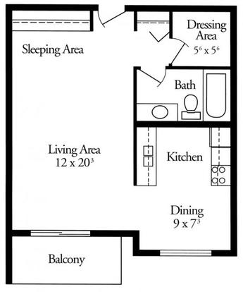 Studio 1 Bathroom Apartment for rent at Tree Tops At Calhoun in Minneapolis, MN