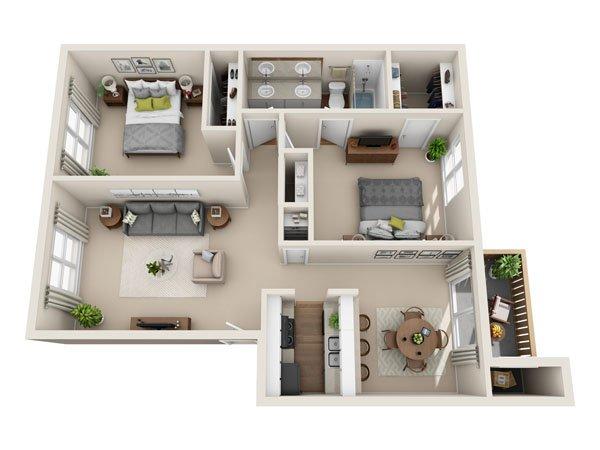 2 Bedrooms 1 Bathroom Apartment for rent at Mesa Village Apartments in El Paso, TX