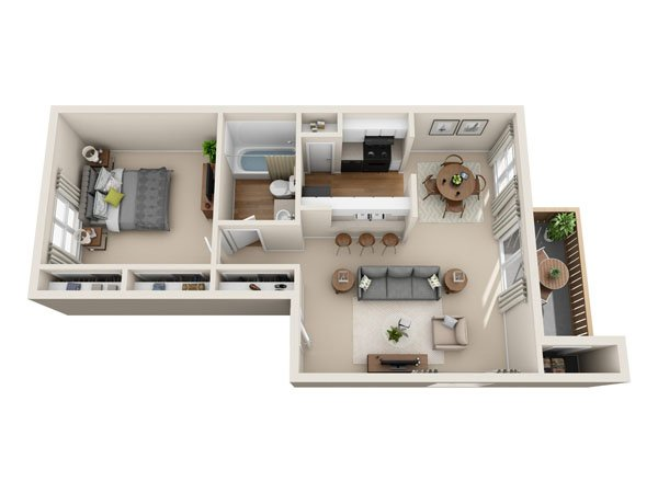 1 Bedroom 1 Bathroom Apartment for rent at Mesa Village Apartments in El Paso, TX