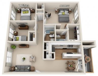 3 Bedrooms 2 Bathrooms Apartment for rent at Mesa Village Apartments in El Paso, TX
