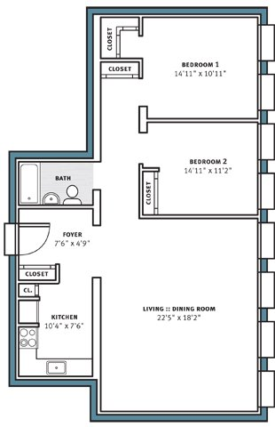 2 Bedrooms 1 Bathroom Apartment for rent at City View Apartments in Pittsburgh, PA