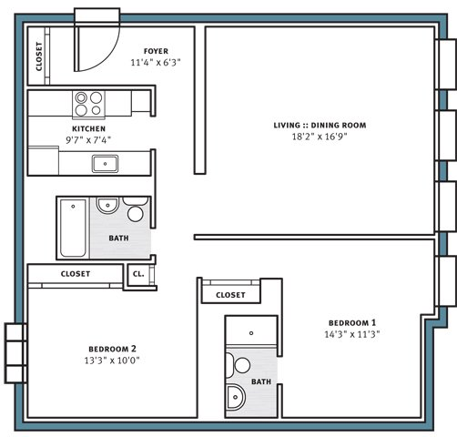 2 Bedrooms 2 Bathrooms Apartment for rent at City View Apartments in Pittsburgh, PA