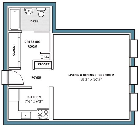 Studio 1 Bathroom Apartment for rent at City View Apartments in Pittsburgh, PA