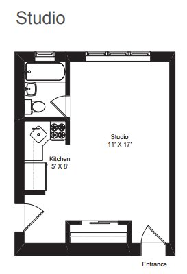 Studio 1 Bathroom Apartment for rent at Dakin Court in Chicago, IL