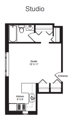 Studio 1 Bathroom Apartment for rent at Oakdale Terrace in Chicago, IL
