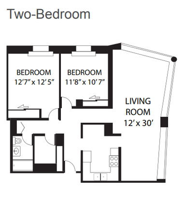 2 Bedrooms 1 Bathroom Apartment for rent at The Covington in Chicago, IL