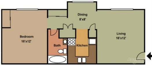 1 Bedroom 1 Bathroom Apartment for rent at Town And Campus Apartments in Springfield, MO