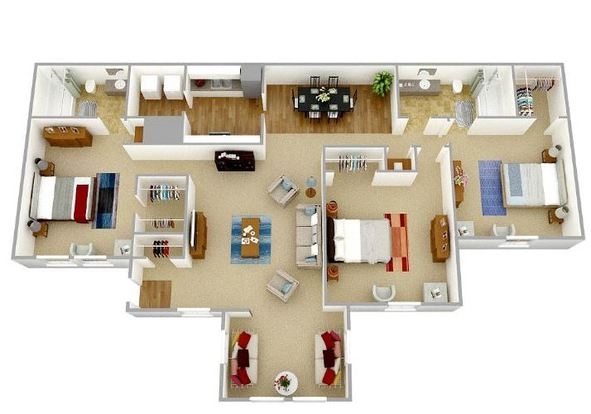 3 Bedrooms 2 Bathrooms Apartment for rent at Park Place Luxury Apartments in Peachtree City, GA