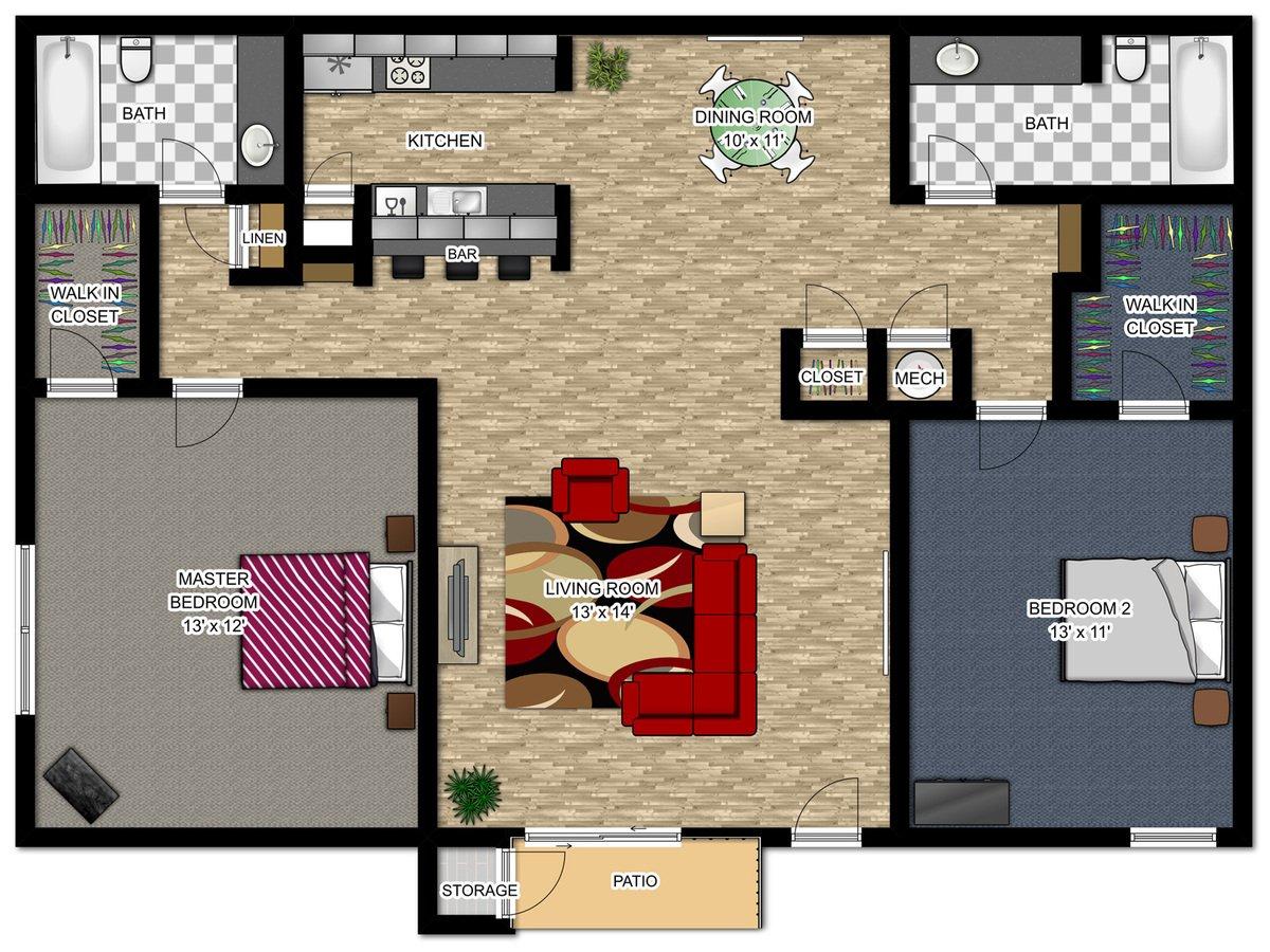 2 Bedrooms 2 Bathrooms Apartment for rent at Waters Edge in Atlanta, GA