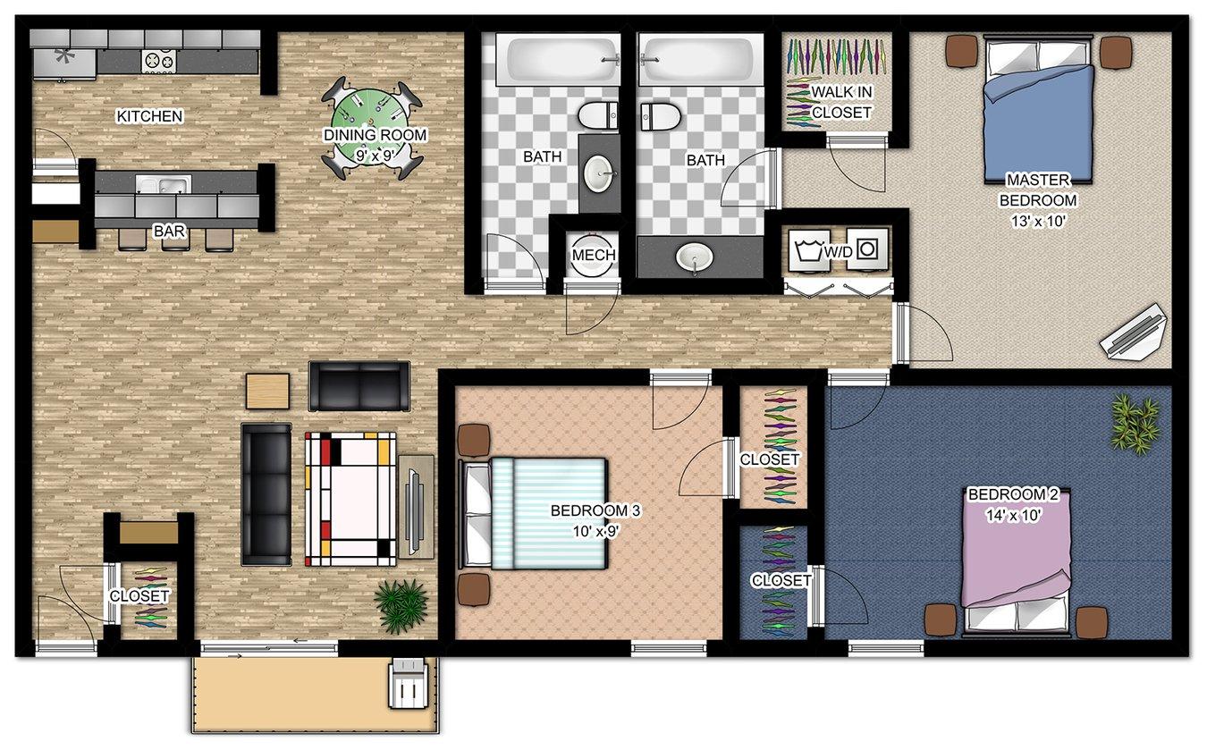 3 Bedrooms 2 Bathrooms Apartment for rent at Waters Edge in Atlanta, GA