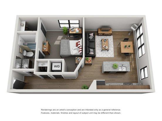 1 Bedroom 1 Bathroom Apartment for rent at Tobin Lofts At San Antonio College in San Antonio, TX
