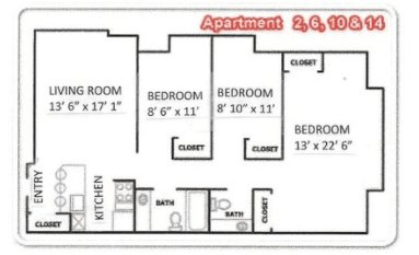 3 Bedrooms 2 Bathrooms Apartment for rent at Randall Court Apartments in Madison, WI