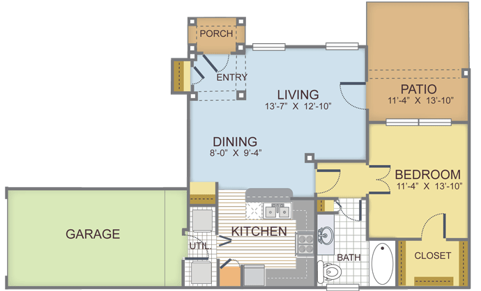 1 Bedroom 1 Bathroom Apartment for rent at Copper Ridge Apartments in Roanoke, TX