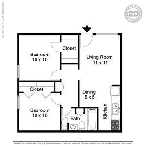 2 Bedrooms 1 Bathroom Apartment for rent at Twenty Oaks Apartments in Arlington, TX