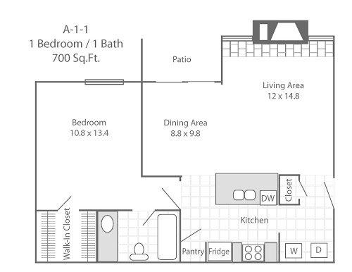 1 Bedroom 1 Bathroom Apartment for rent at Cooper Park Apartments in Arlington, TX